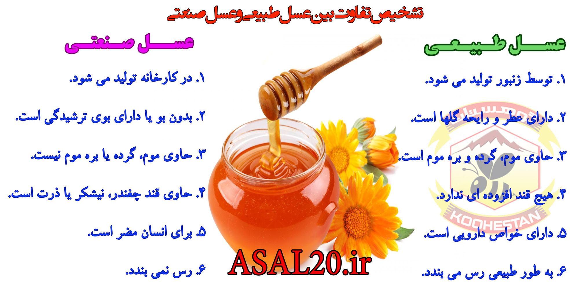 تفاوت عسل اصلی با تقلبی . فرق عسل طبیعی و تقلبی